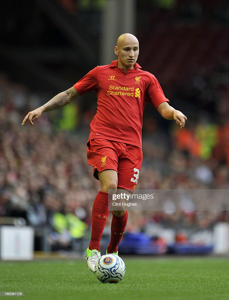 Jonjo Shelvey of Liverpool during the pre season friendly match between Liverpool and Bayer Leverkusen at Anfield on August 12, 2012 in Liverpool, England.