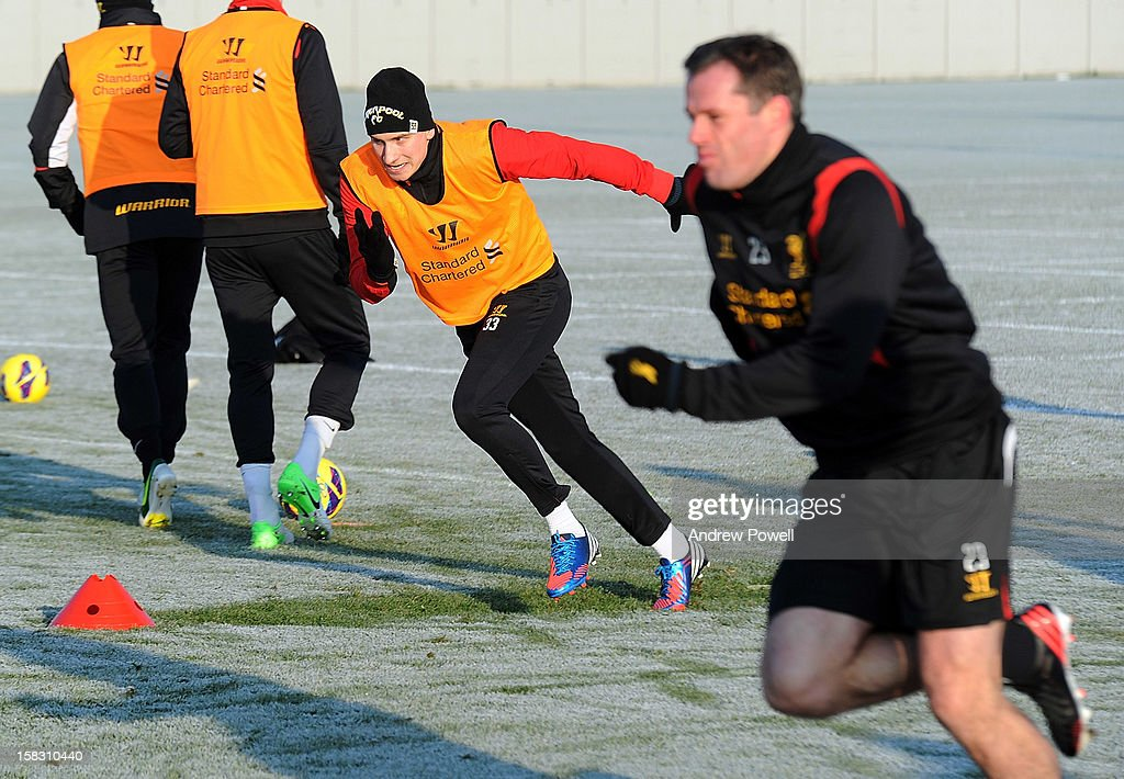<a gi-track='captionPersonalityLinkClicked' href=/galleries/search?phrase=Jonjo+Shelvey&family=editorial&specificpeople=4940315 ng-click='$event.stopPropagation()'>Jonjo Shelvey</a> of Liverpool in action during a training session at Melwood Training Ground on December 13, 2012 in Liverpool, England.