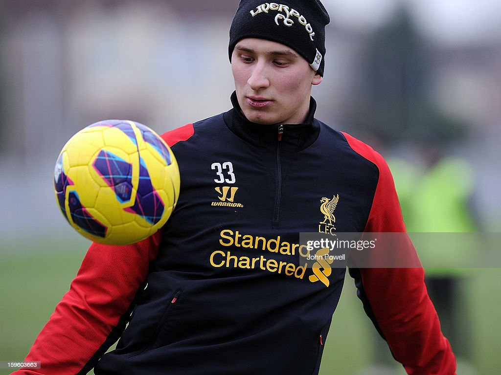 Jonjo Shelvey of Liverpool in action during a training session at Melwood Training Ground on January 17, 2013 in Liverpool, England.