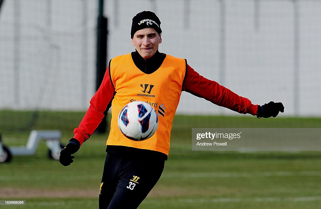 <a gi-track='captionPersonalityLinkClicked' href=/galleries/search?phrase=Jonjo+Shelvey&family=editorial&specificpeople=4940315 ng-click='$event.stopPropagation()'>Jonjo Shelvey</a> of Liverpool in action during a training session at Melwood Training Ground on March 14, 2013 in Liverpool, England.
