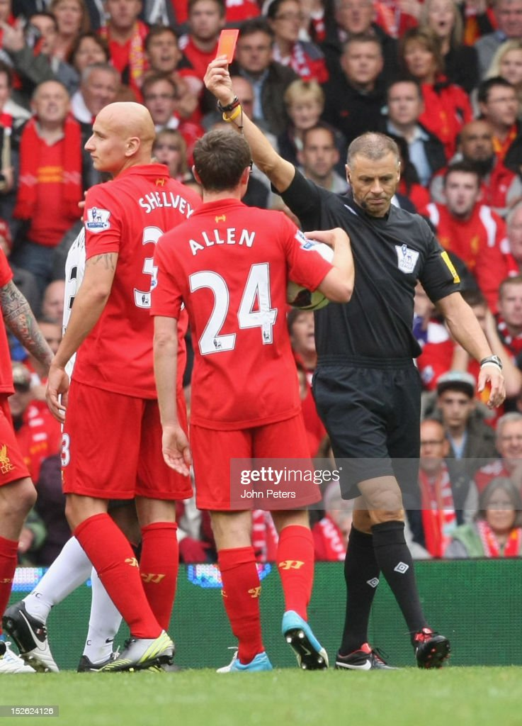 <a gi-track='captionPersonalityLinkClicked' href=/galleries/search?phrase=Jonjo+Shelvey&family=editorial&specificpeople=4940315 ng-click='$event.stopPropagation()'>Jonjo Shelvey</a> of Liverpool is sent off by referee <a gi-track='captionPersonalityLinkClicked' href=/galleries/search?phrase=Mark+Halsey&family=editorial&specificpeople=224397 ng-click='$event.stopPropagation()'>Mark Halsey</a> during the Barclays Premier League match between Liverpool and Manchester United at Anfield on September 23, 2012 in Liverpool, England.