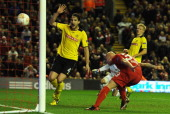 Jonjo Shelvey of Liverpool scores the opening goal during the UEFA Europa League Group A match between Liverpool FC and BSC Young Boys at Anfield on...