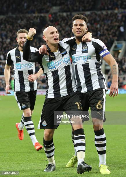Jonjo Shelvey of Newcastle celebrates the second goal with Jamaal Lascelles during the Sky Bet Championship match between Newcastle United and Aston...