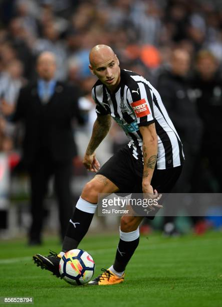 Jonjo Shelvey of Newcastle in action during the Premier League match between Newcastle United and Liverpool at St James Park on October 1 2017 in...