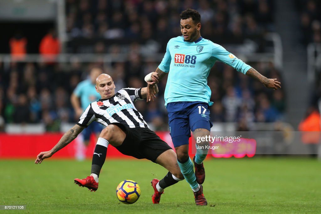 Jonjo Shelvey of Newcastle United and Joshua King of AFC Bournemouth in action during the Premier League match between Newcastle United and AFC Bournemouth at St. James Park on November 4, 2017 in Newcastle upon Tyne, England.