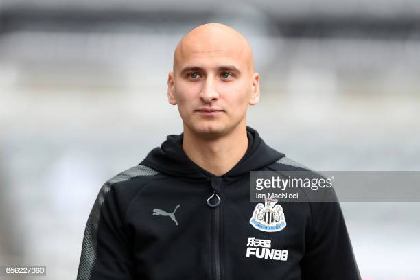 Jonjo Shelvey of Newcastle United arrives at the stadium prior to the Premier League match between Newcastle United and Liverpool at St James Park on...