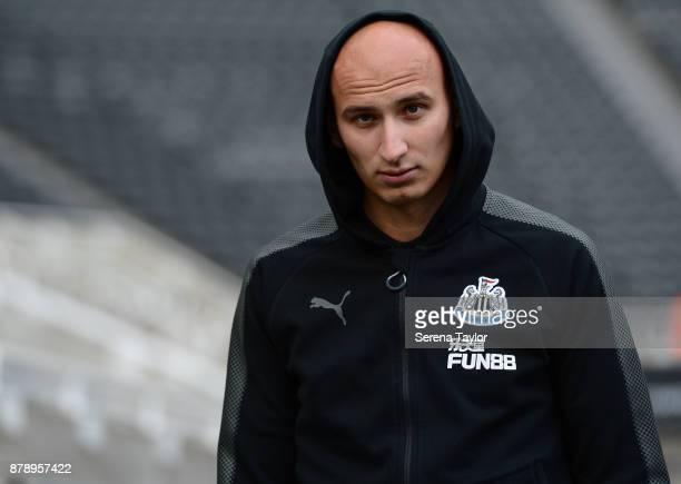 Jonjo Shelvey of Newcastle United arrives for the Premier League match between Newcastle United and Watford FC at tStJames' Park on November 25 in...