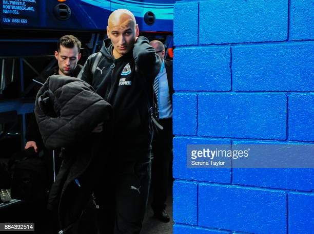 Jonjo Shelvey of Newcastle United arrives for the Premier League match between Chelsea and Newcastle United at Stamford Bridge on December 2 2017 in...