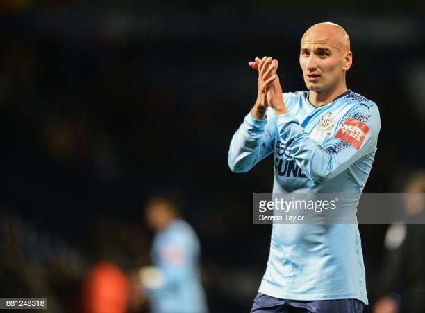 Jonjo Shelvey of Newcastle United claps the away supporters during the Premier League match between West Bromwich Albion and Newcastle United at The...