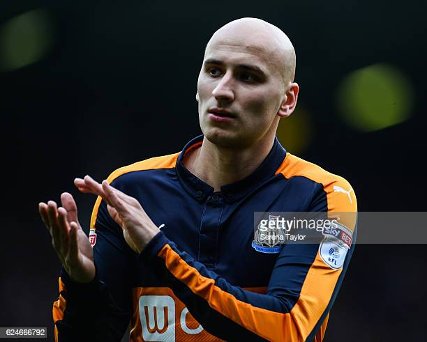 Jonjo Shelvey of Newcastle United claps the fans during the Sky Bet Championship Match between Leeds United and Newcastle United at Elland Road on...