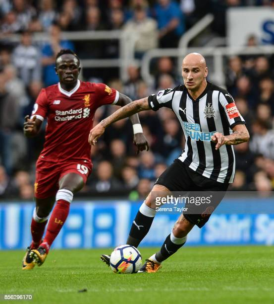 Jonjo Shelvey of Newcastle United controls the ball during the Premier League Match between Newcastle United and Liverpool at StJames' Park on...