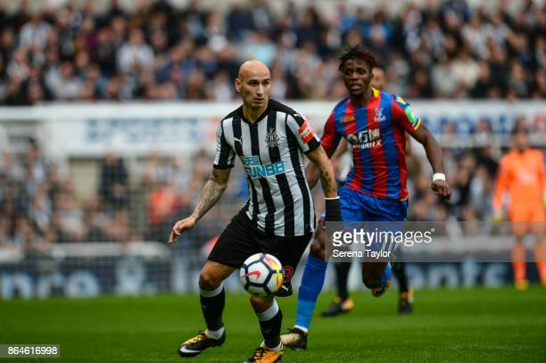 Jonjo Shelvey of Newcastle United controls the ball during the Premier League match between Newcastle United and Crystal Palace at StJames' Park on...