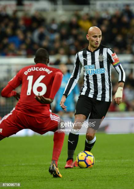 Jonjo Shelvey of Newcastle United controls the ball during the Premier League match between Newcastle United and Watford FC at StJames' Park on...