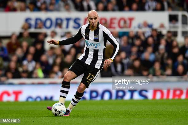 Jonjo Shelvey of Newcastle United controls the ball during the Sky Bet Championship Match between Newcastle United and Burton Albion at StJames' Park...