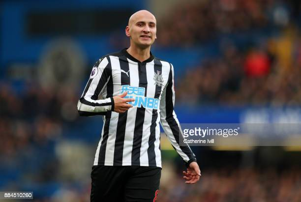 Jonjo Shelvey of Newcastle United during the Premier League match between Chelsea and Newcastle United at Stamford Bridge on December 2 2017 in...