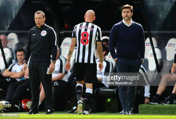 Jonjo Shelvey of Newcastle United heads for the dressing room after being sent off during the Premier League match between Newcastle United and...