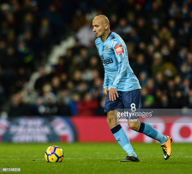 Jonjo Shelvey of Newcastle United looks to pass the ball during the Premier League match between West Bromwich Albion and Newcastle United at The...