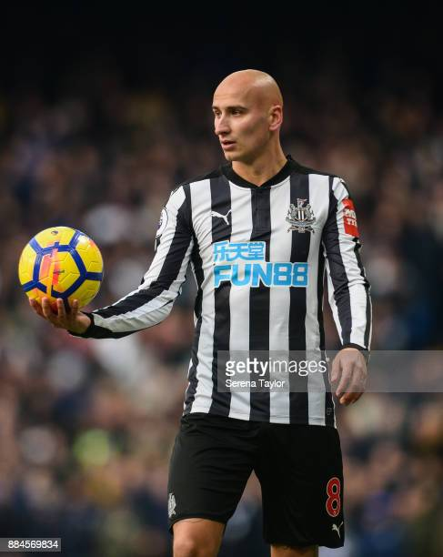 Jonjo Shelvey of Newcastle United looks to throw the ball into play during the Premier League match between Chelsea and Newcastle United at Stamford...