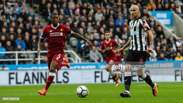 Jonjo Shelvey of Newcastle United passes the ball during the Premier League Match between Newcastle United and Liverpool at StJames' Park on October...
