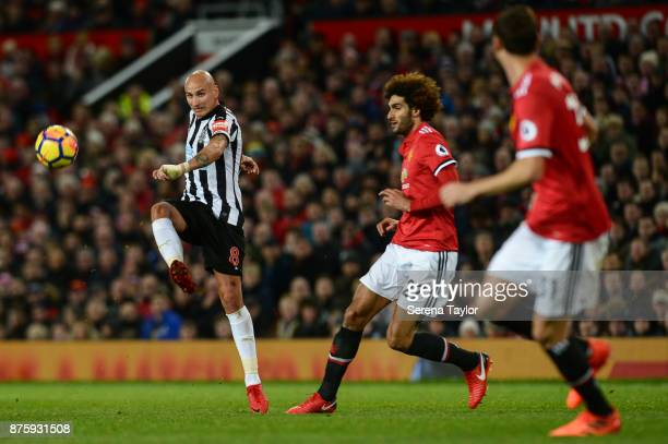 Jonjo Shelvey of Newcastle United passes the ball during the Premier League match between Manchester United and Newcastle United at Old Trafford on...