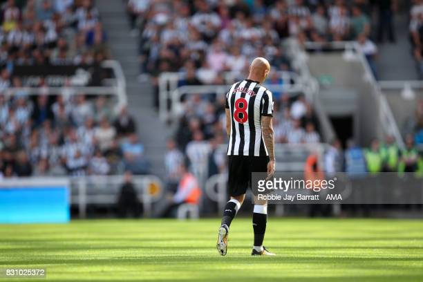 Jonjo Shelvey of Newcastle United reacts after being sent off during the Premier League match between Newcastle United and Tottenham Hotspur at St...