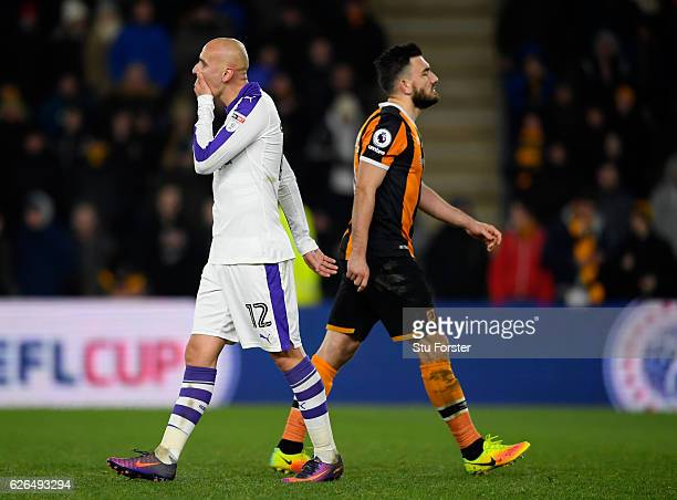Jonjo Shelvey of Newcastle United reacts as he misses a penalty in the shoot out during the EFL Cup QuarterFinal match between Hull City and...