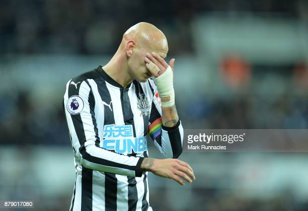 Jonjo Shelvey of Newcastle United reacts during the Premier League match between Newcastle United and Watford at St James Park on November 25 2017 in...