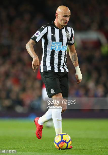 Jonjo Shelvey of Newcastle United runs with the ball during the Premier League match between Manchester United and Newcastle United at Old Trafford...