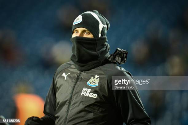 Jonjo Shelvey of Newcastle United warms up during the Premier League match between West Bromwich Albion and Newcastle United at The Hawthorns on...