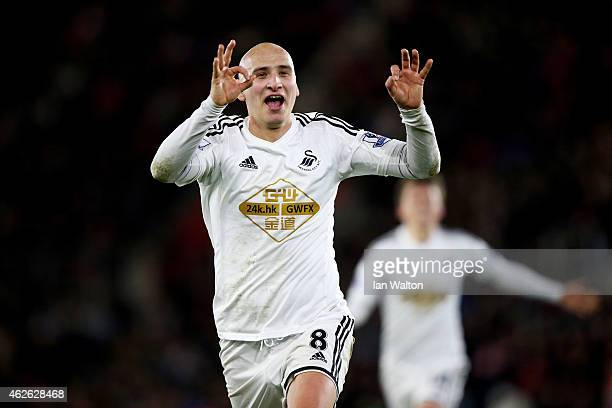 Jonjo Shelvey of Swansea City celebrates after scoring the opening goal during the Barclays Premier League match between Southampton and Swansea City...
