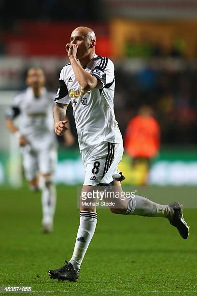 Jonjo Shelvey of Swansea City celebrates scoring his second goal during the Barclays Premier League match between Swansea City and Newcastle United...