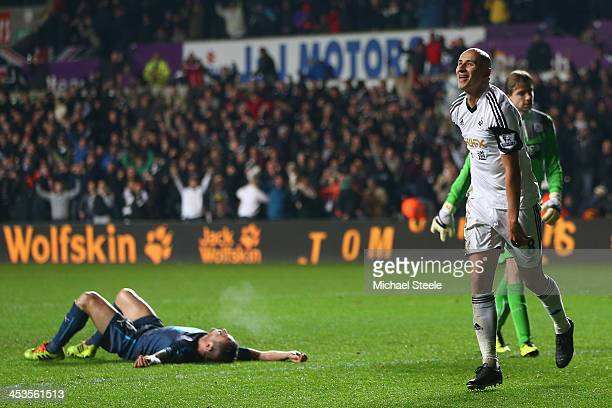 Jonjo Shelvey of Swansea City celebrates scoring his sides second goal during the Barclays Premier League match between Swansea City and Newcastle...