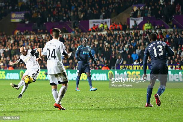 Jonjo Shelvey of Swansea City scores his second goal during the Barclays Premier League match between Swansea City and Newcastle United at the...