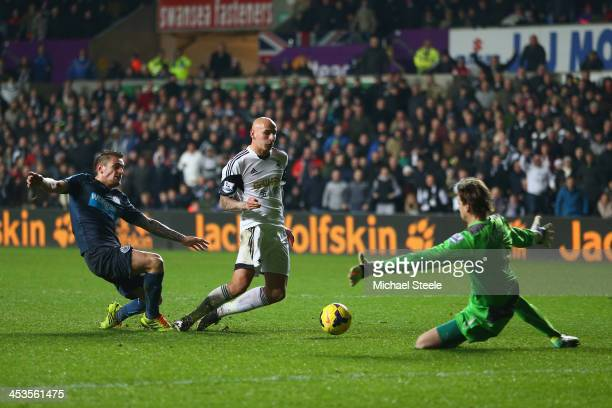 Jonjo Shelvey of Swansea City scores his sides second goal of during the Barclays Premier League match between Swansea City and Newcastle United at...