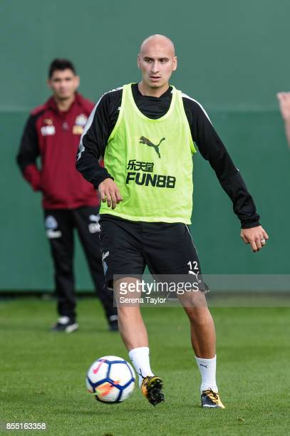 Jonjo Shelvey passes the ball during a Newcastle United Training session at the Newcastle Untied Training Centre on September 28 in Newcastle upon...