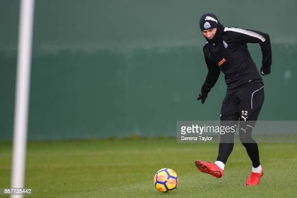 Jonjo Shelvey passes the ball during a Newcastle United training session at the Newcastle United Training Centre on December 7 in Newcastle upon Tyne...