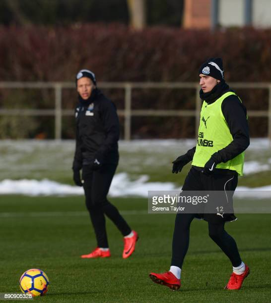Jonjo Shelvey passes the ball during the Newcastle United training session at the Newcastle United Training Centre on December 12 in Newcastle upon...