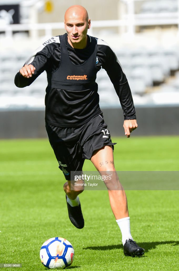 Jonjo Shelvey runs with the ball during a Newcastle United Open Training session at St.James' Park on August 17, 2017, in Newcastle upon Tyne, England.