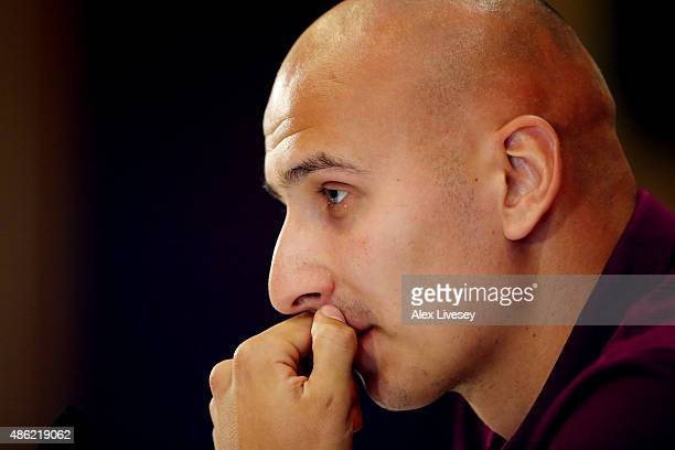 Jonjo Shelvey speaks to the media during the England press conference at St Georges Park on September 2 2015 in BurtonuponTrent England