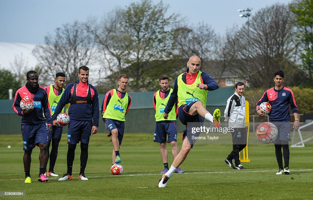 <a gi-track='captionPersonalityLinkClicked' href=/galleries/search?phrase=Jonjo+Shelvey&family=editorial&specificpeople=4940315 ng-click='$event.stopPropagation()'>Jonjo Shelvey</a> (third from right) takes a penalty kick during the Newcastle United Training session at The Newcastle United Training Centre on May 6, 2016, in Newcastle upon Tyne, England.