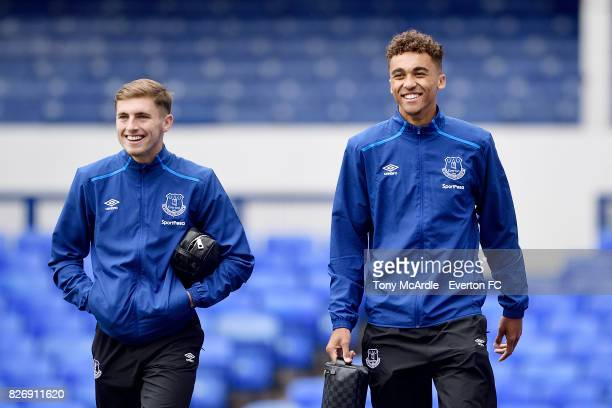 Jonjoe Kenny and Dominic CalvertLewin arrives for the Pre Season Friendly match between Everton and Sevilla at Goodison Park on August 6 2017 in...