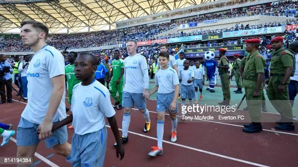 Jonjoe Kenny and Wayne Rooney of Everton during the preseason match between Everton and Gor Mahia in DarEsSalaam on July 12 2017 in Tanzania