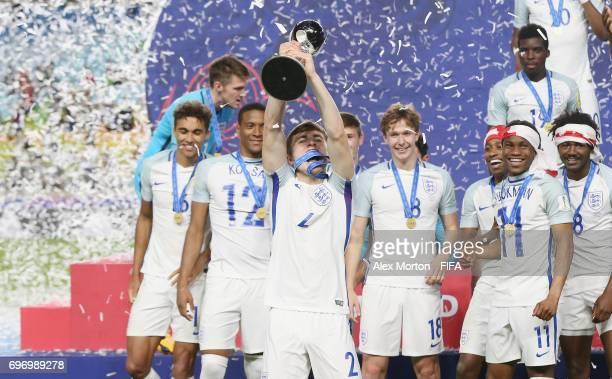 Jonjoe Kenny of England lifts the trophy during the FIFA U20 World Cup Korea Republic 2017 Final match between Venezuela and England at Suwon World...