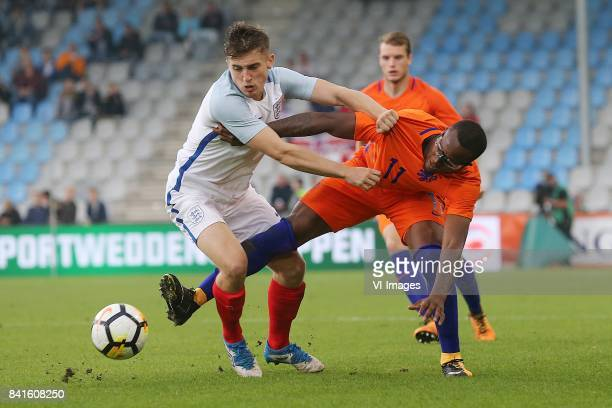 Jonjoe Kenny of England U21 Gervane Kastaneer of Holland U21 during the EURO U21 2017 qualifying match between Netherlands U21 and England U21 at the...