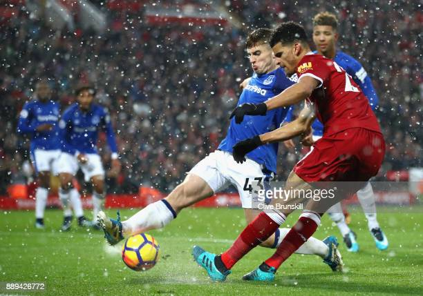 Jonjoe Kenny of Everton and Dominic Solanke of Liverpool battle for the ball during the Premier League match between Liverpool and Everton at Anfield...