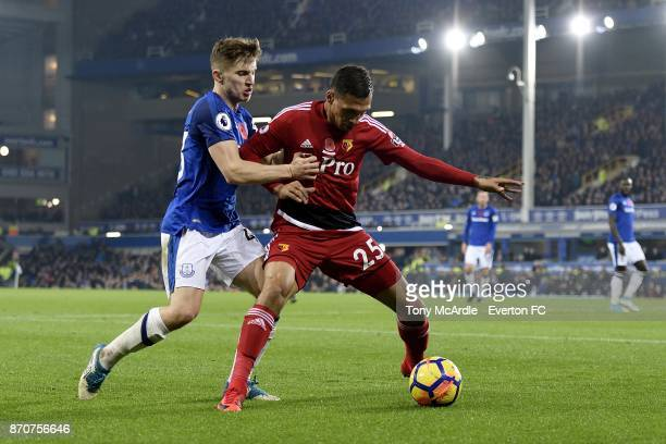 Jonjoe Kenny of Everton and Jose Holebas challenge for the ball during the Premier League match between Everton and Watford at Goodison Park on...