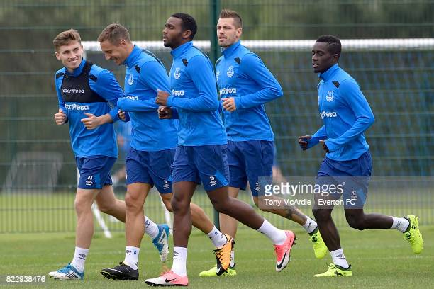Jonjoe Kenny Phil Jagielka Cuco Martina Morgan Schneiderlin and Idrissa Gueye during the Everton FC training session at USM Finch Farm on July 25...