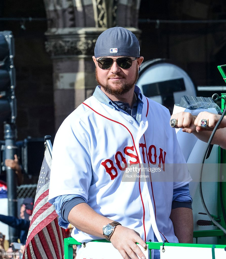 JonLester of the Boston Red Sox during the World Series victory Rolling Rally as it passes through Copley Square in Boston MA on November 2 2013...
