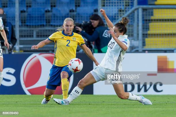 Jonna Andersson of Sweden and Lina Magull of Germany battle for the ball l during the Group B match between Germany and Sweden during the UEFA...