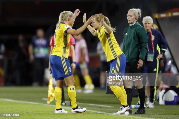 Jonna Andersson of Sweden women Magdalena Ericsson of Sweden women during the UEFA WEURO 2017 Group B group stage match between Germany and Sweden at...